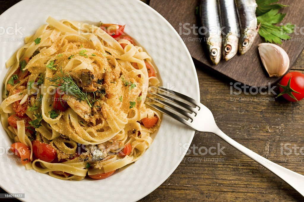 Pasta with Sardines royalty-free stock photo