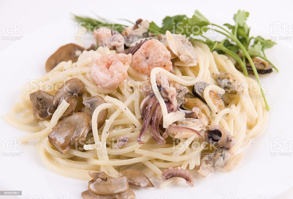 Pasta with seafood royalty-free stock photo
