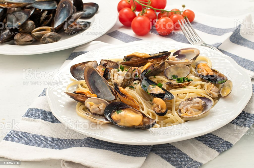 pasta with seafood with mussels and clams stock photo