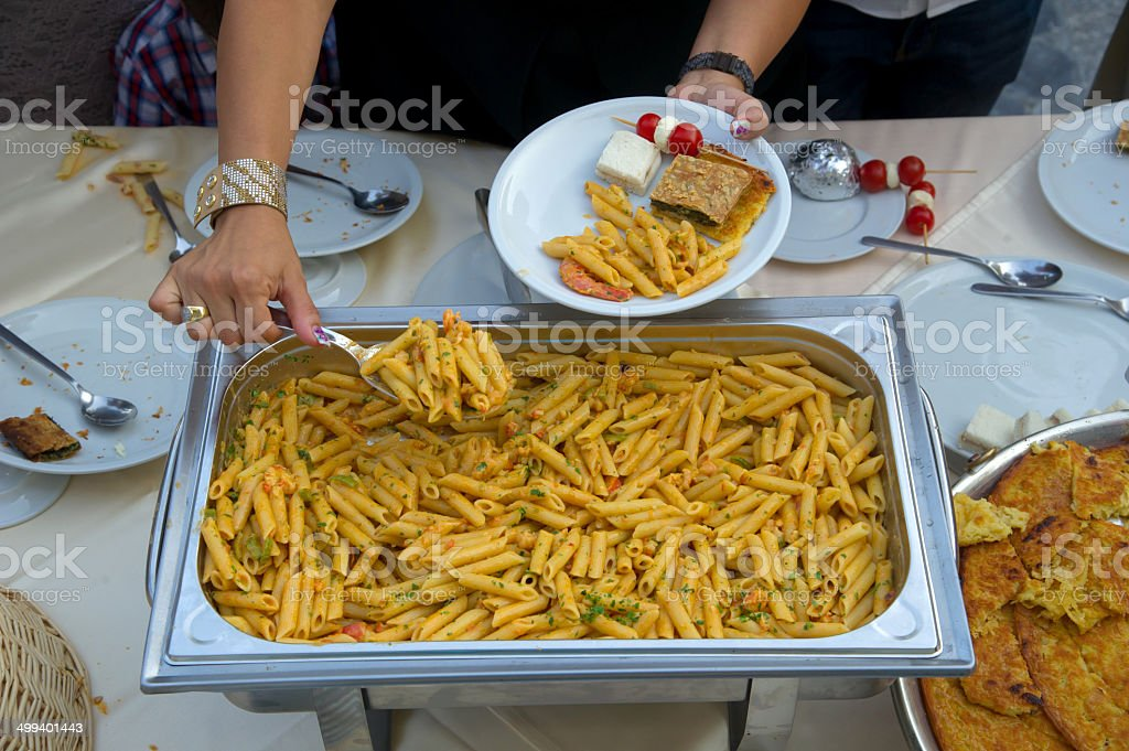 pasta with shrimp and vegetables royalty-free stock photo