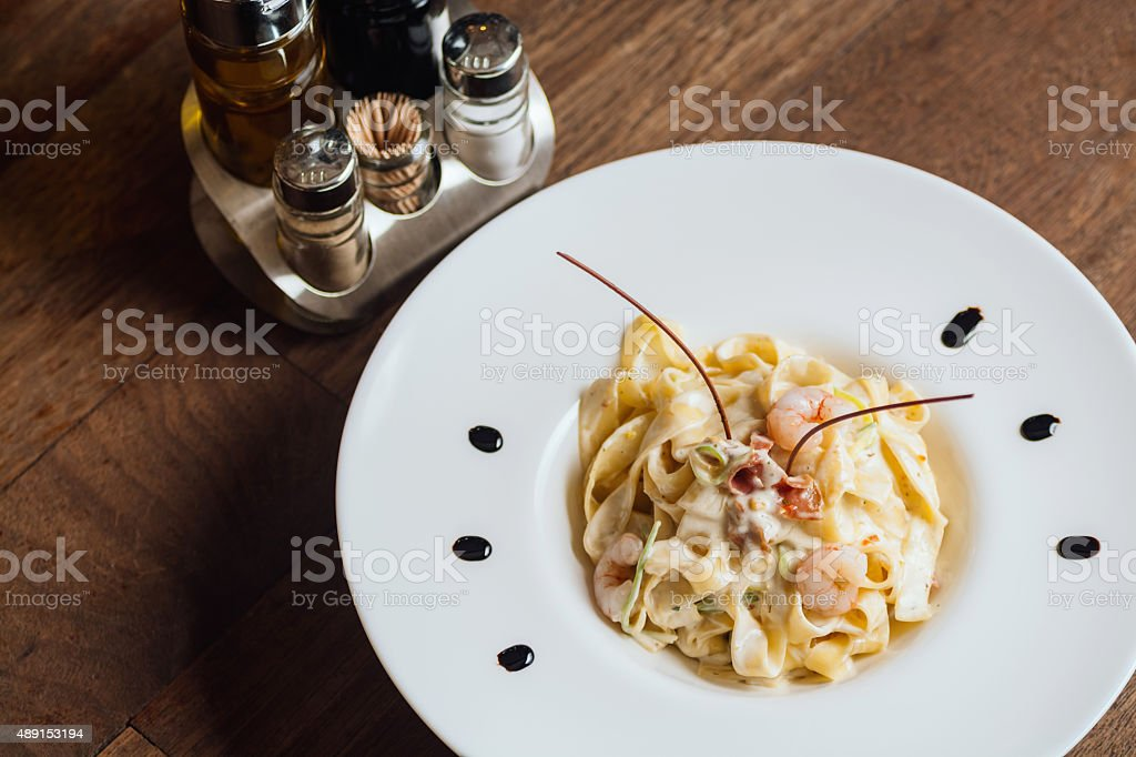 Pasta with shrimps overhead royalty-free stock photo