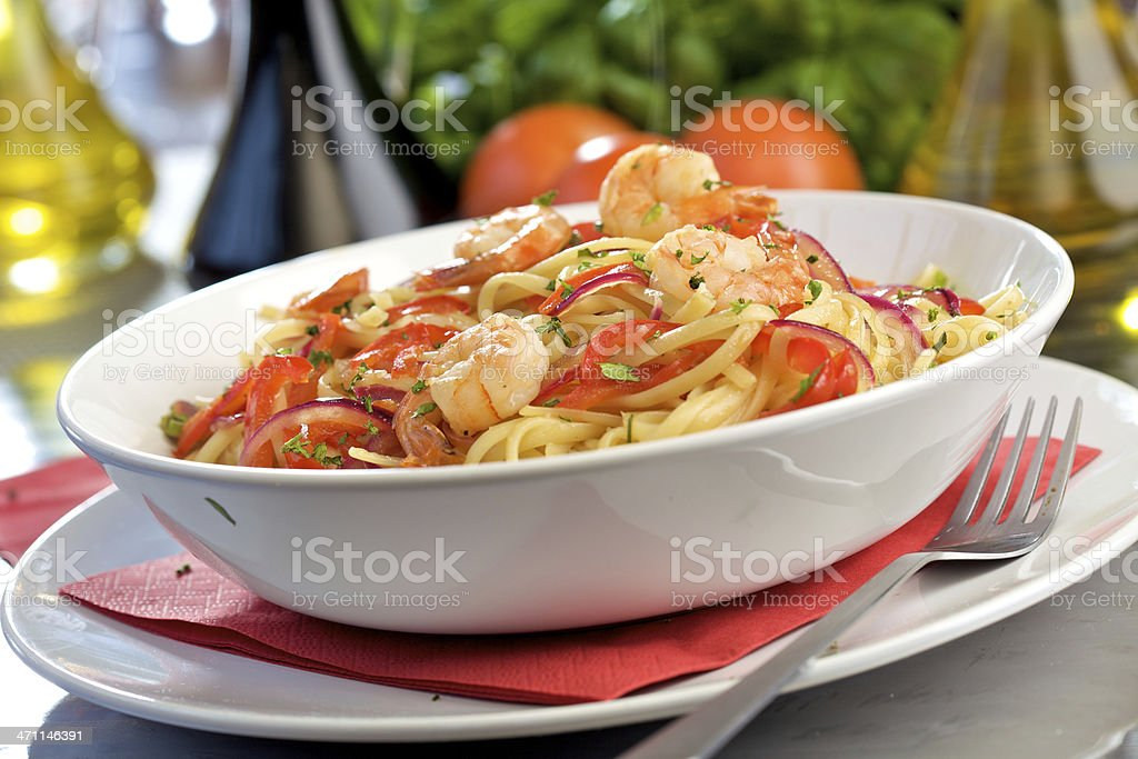 Pasta with shrimps royalty-free stock photo