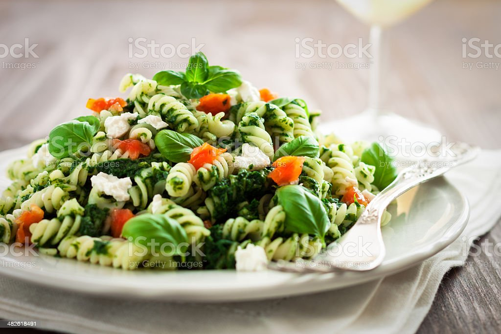 Pasta with Spinach stock photo