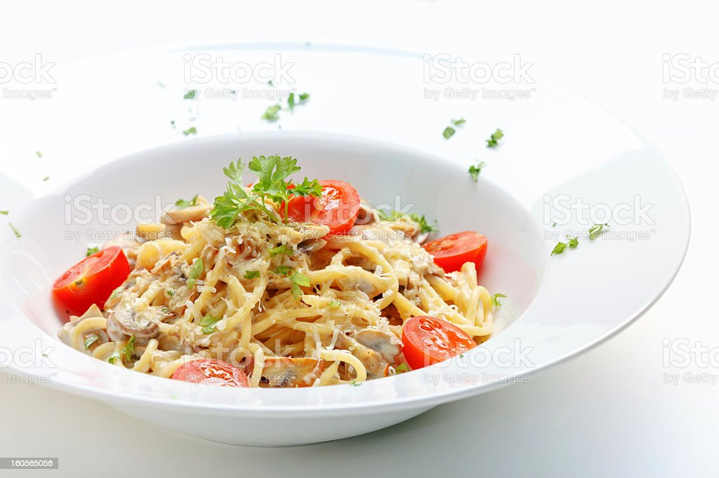 Pasta with taomato and chicken royalty-free stock photo
