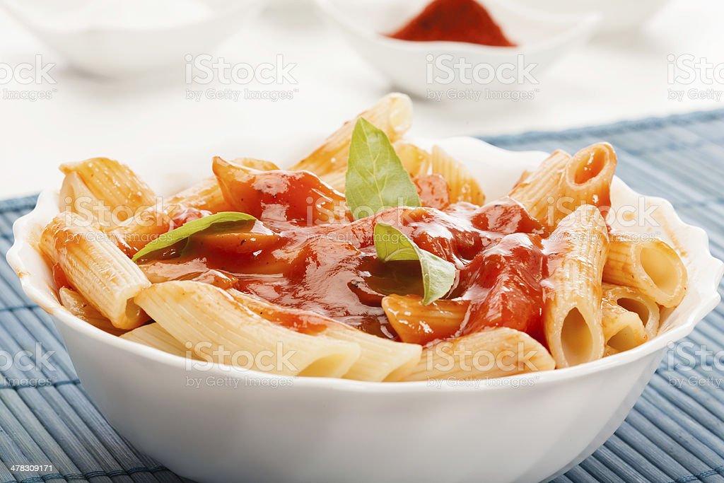 Pasta with tomato sauce royalty-free stock photo