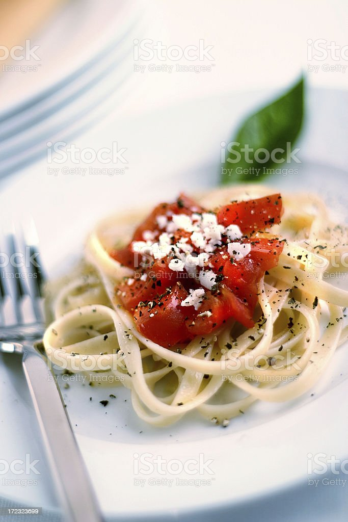 Pasta with tomatoes royalty-free stock photo