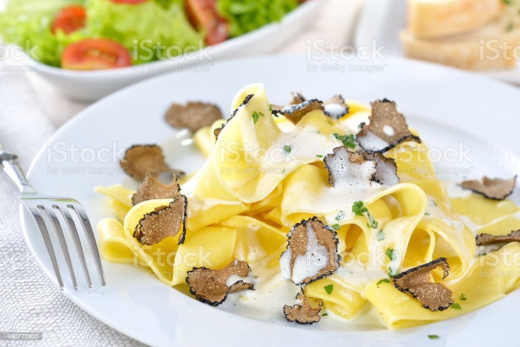 Pasta with truffles stock photo