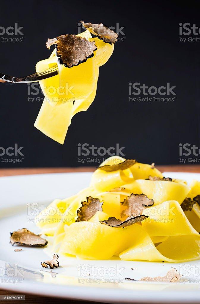 Pasta with truffles. stock photo
