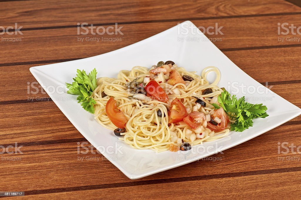 Pasta with vegetable stock photo