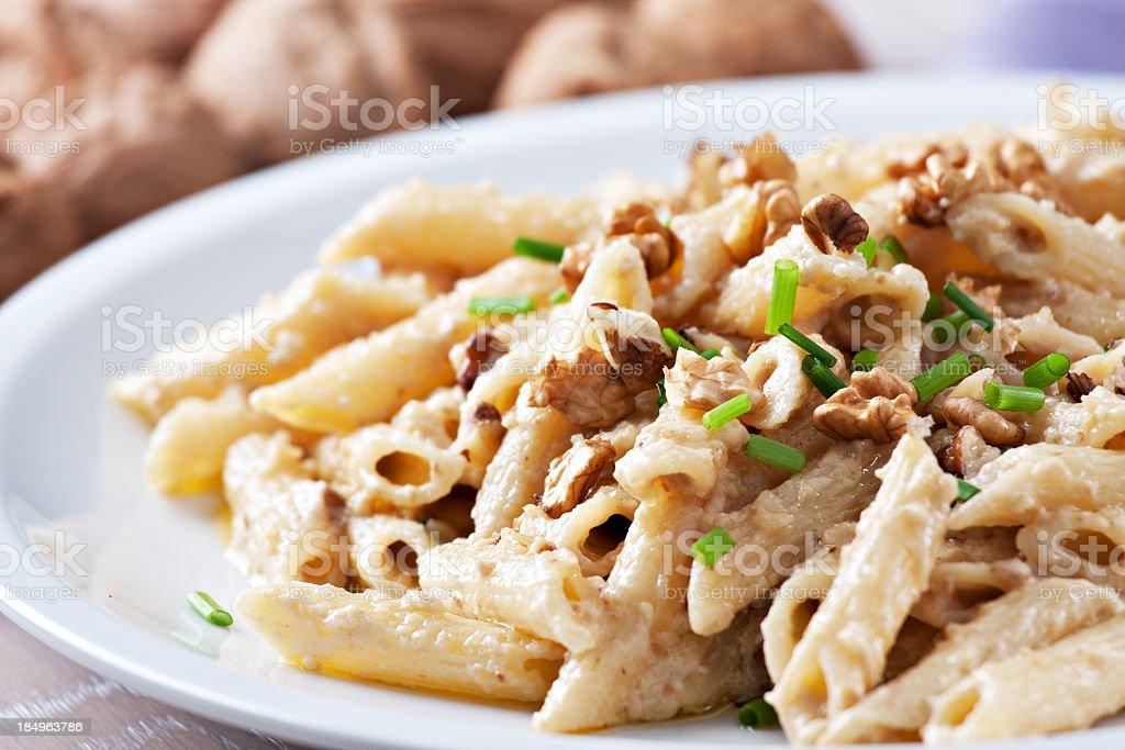 Pasta with walnut sauce royalty-free stock photo