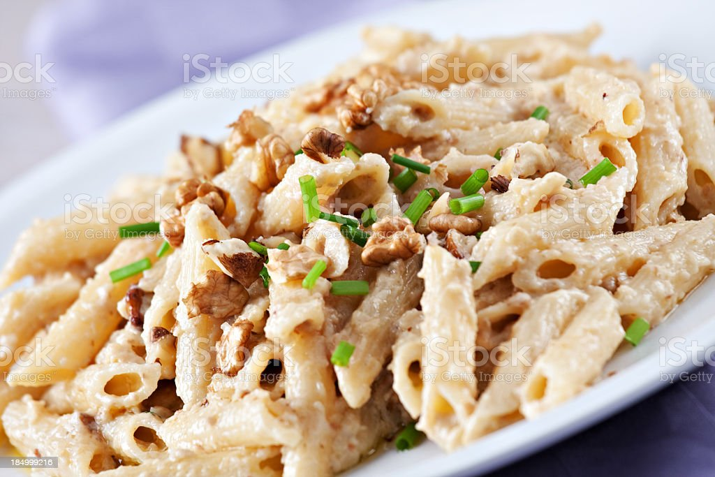 Pasta with walnut sauce royalty-free stock photo