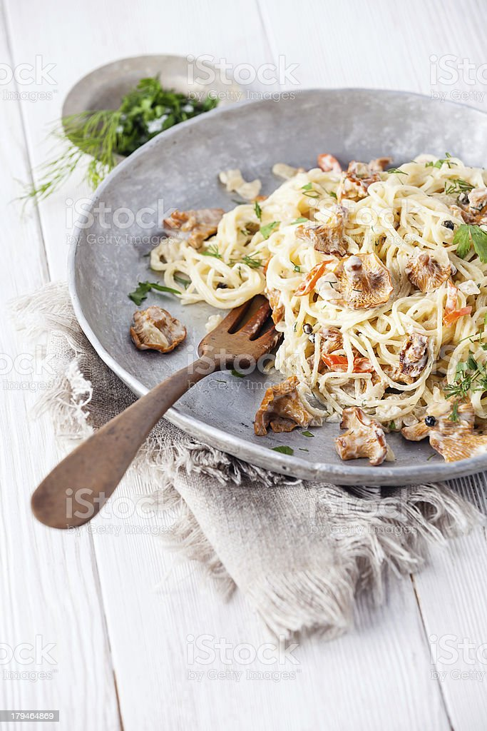 Pasta with wild mushrooms royalty-free stock photo