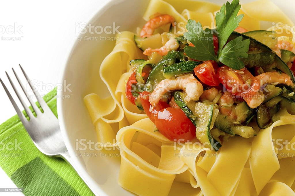 Pasta with Zucchini and Shrimps 2 stock photo
