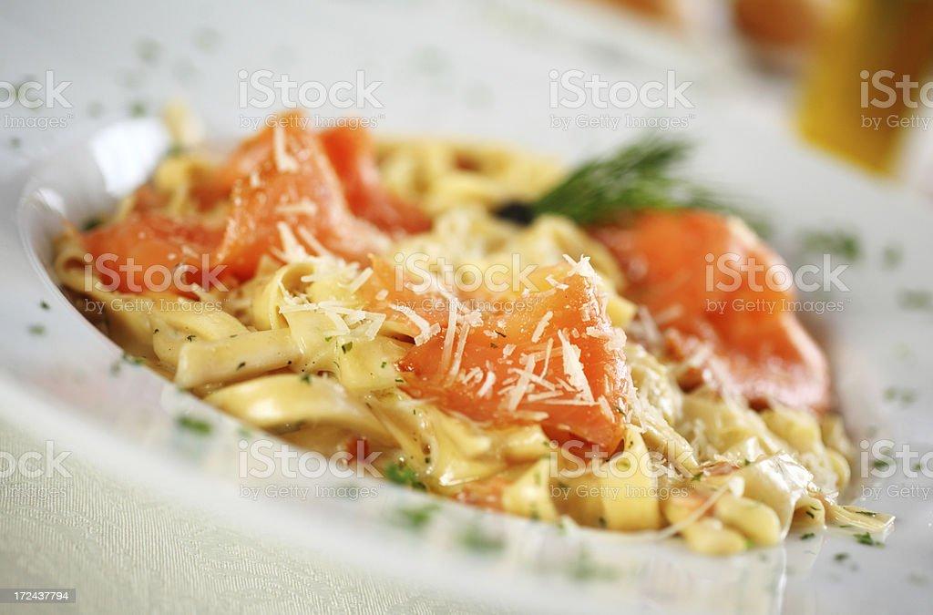 Pasta woith salmon. royalty-free stock photo