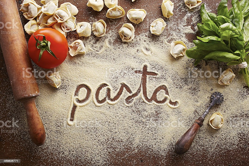 Pasta word written on table stock photo