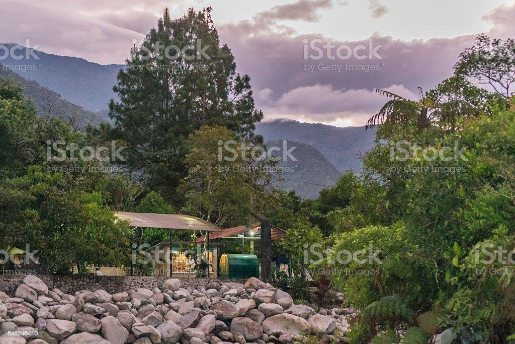 Pastaza River and Leafy Mountains in Banos Ecuador stock photo