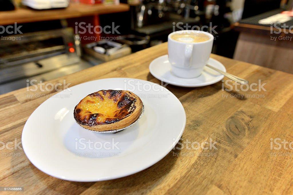 Pasteis de nata and coffee stock photo
