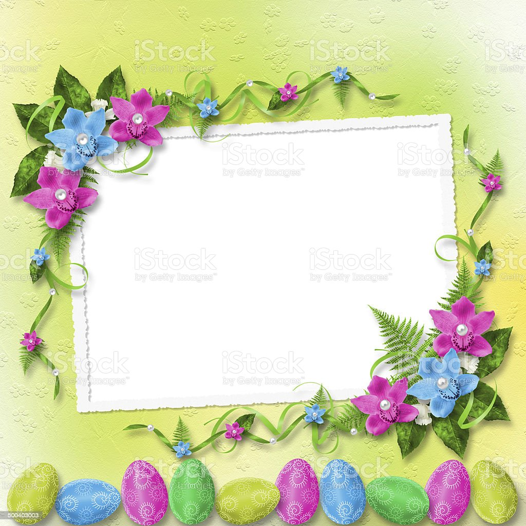 Pastel background with colored eggs and orchids to Easter stock photo