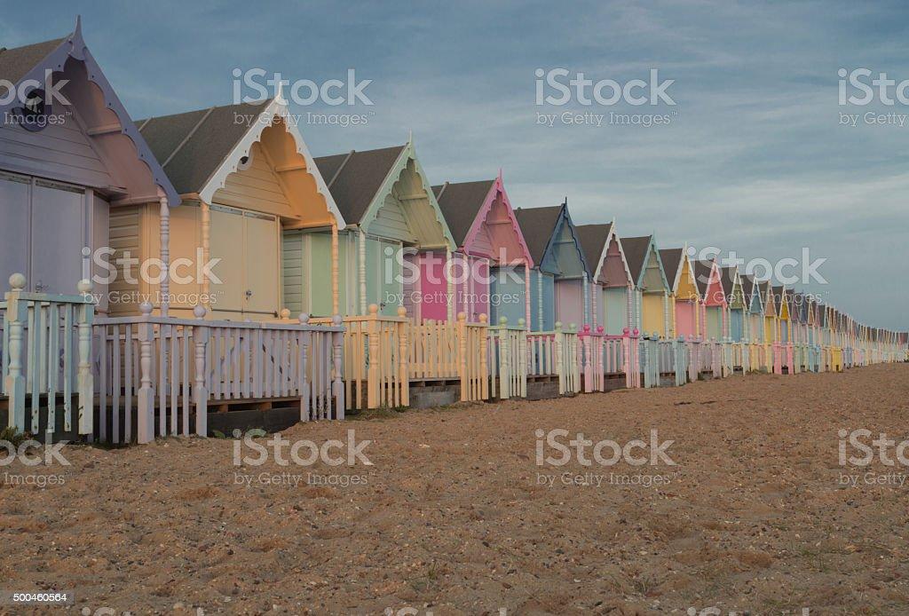 Pastel Beach Huts stock photo