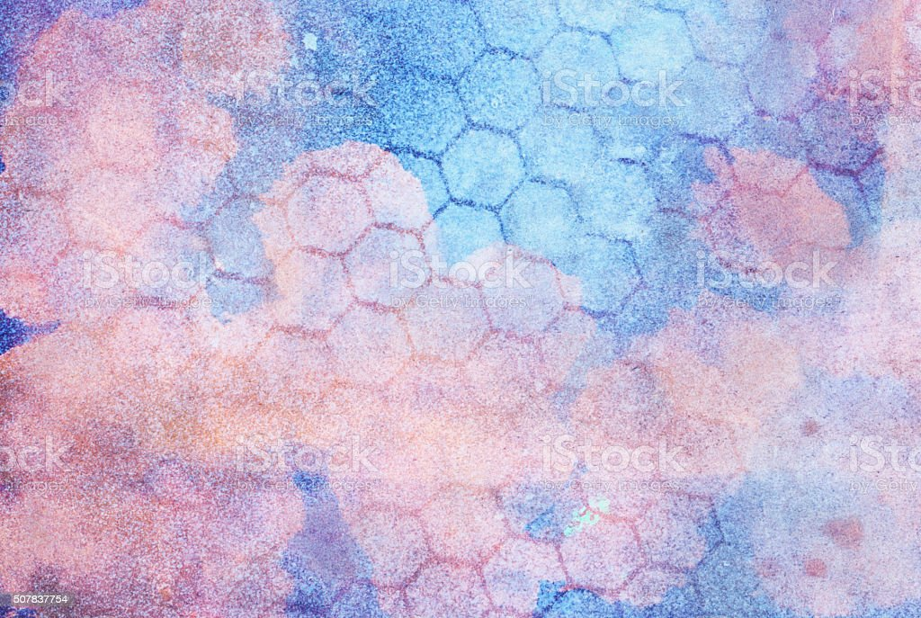 Pastel blue and pink colors with honeycomb pattern and textures stock photo
