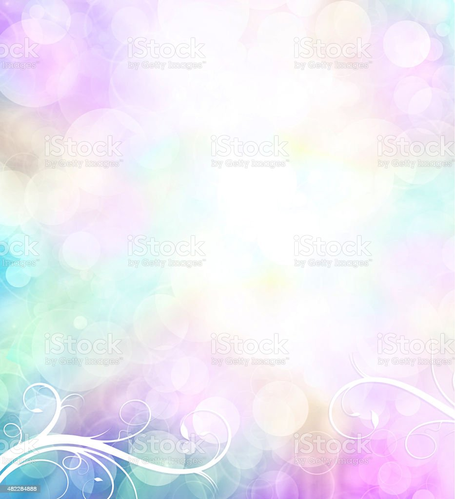 Pastel Bokeh Background with Scroll-swirls vector art illustration