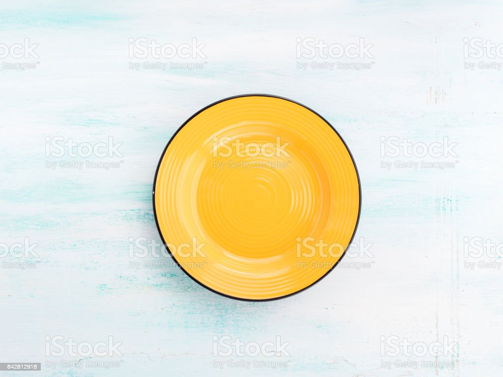 Pastel Color ceramic plate dish top view background stock photo