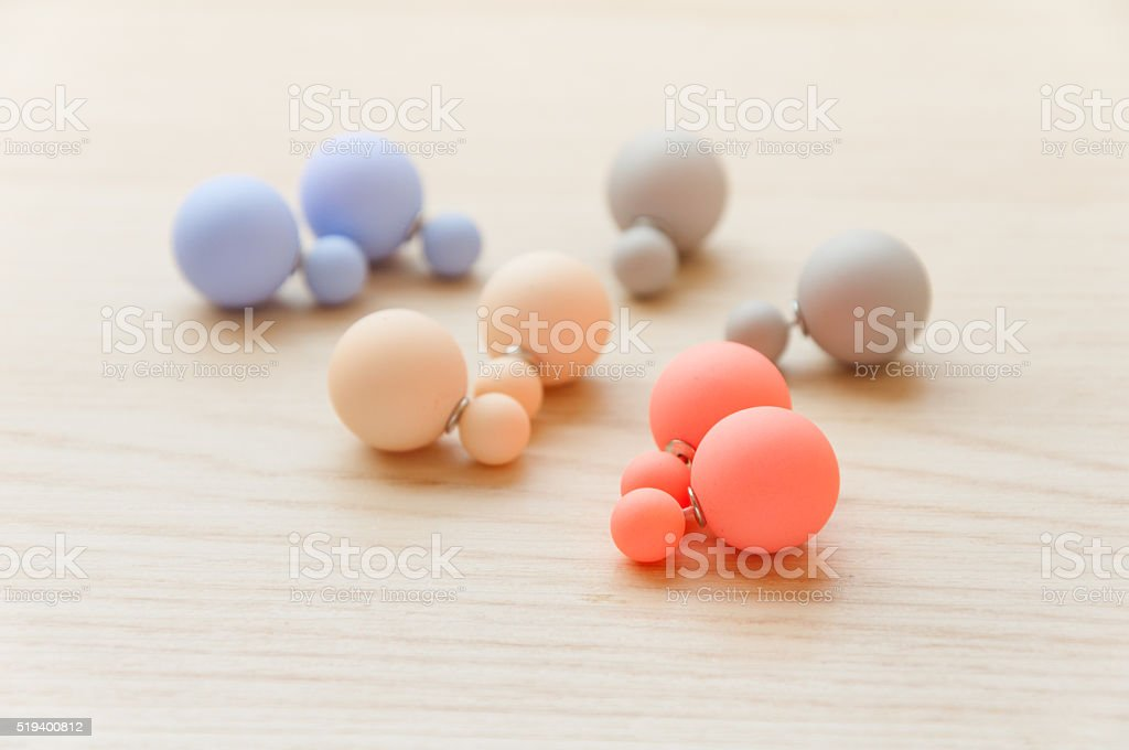 pastel color earrings stock photo