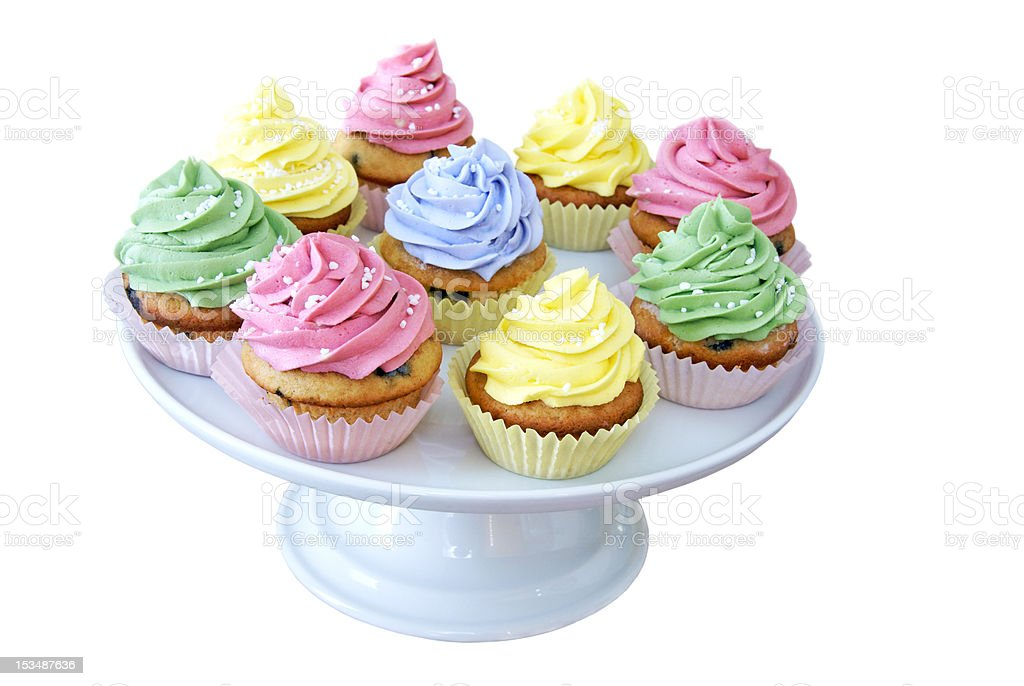 Pastel colored cupcakes royalty-free stock photo