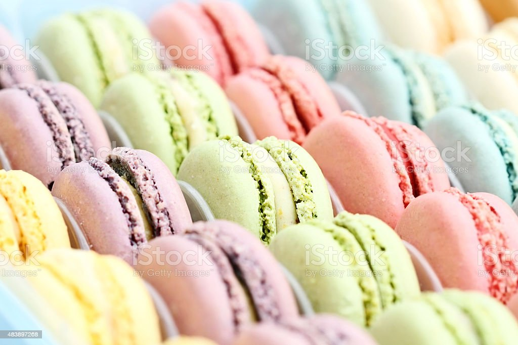 Pastel Colored Macarons stock photo