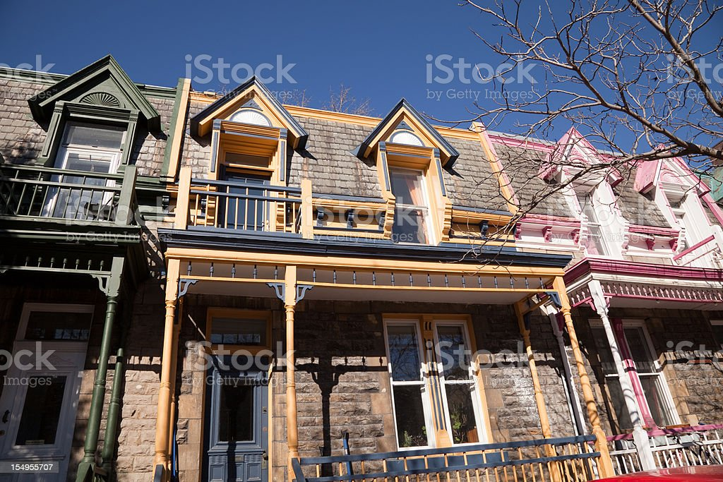 Pastel colored Victorian style row houses stock photo