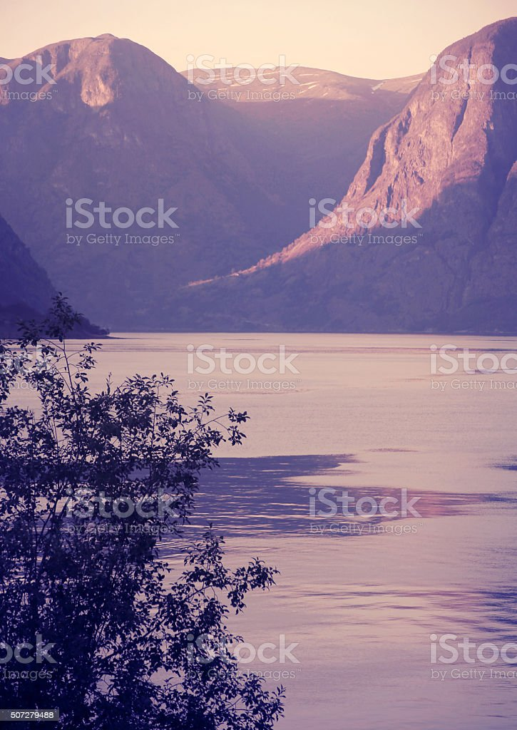 Pastel colored view of Sognefjord, Norway stock photo