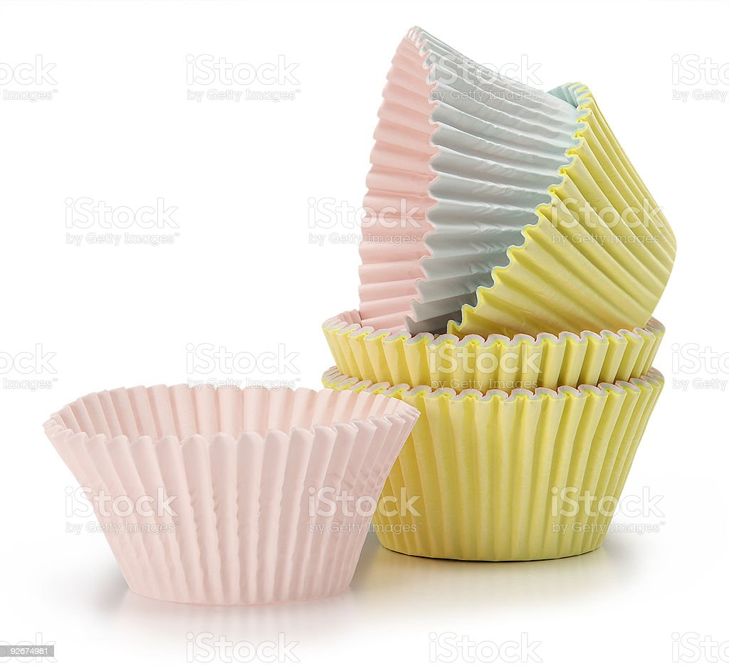 pastel coloured cupcake baking cups stock photo