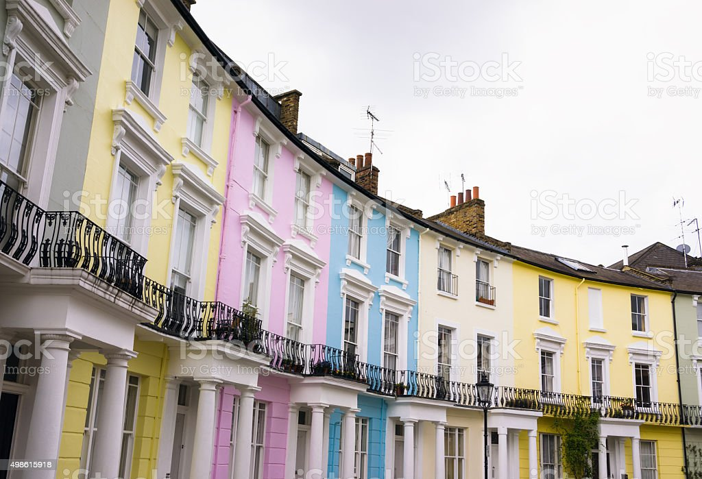 Pastel coloured townhouses in Primrose Hill, London stock photo