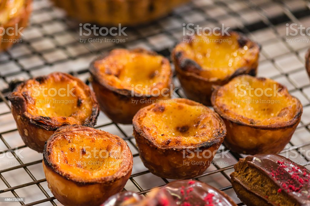 Pastel de Nata - custard tarts stock photo