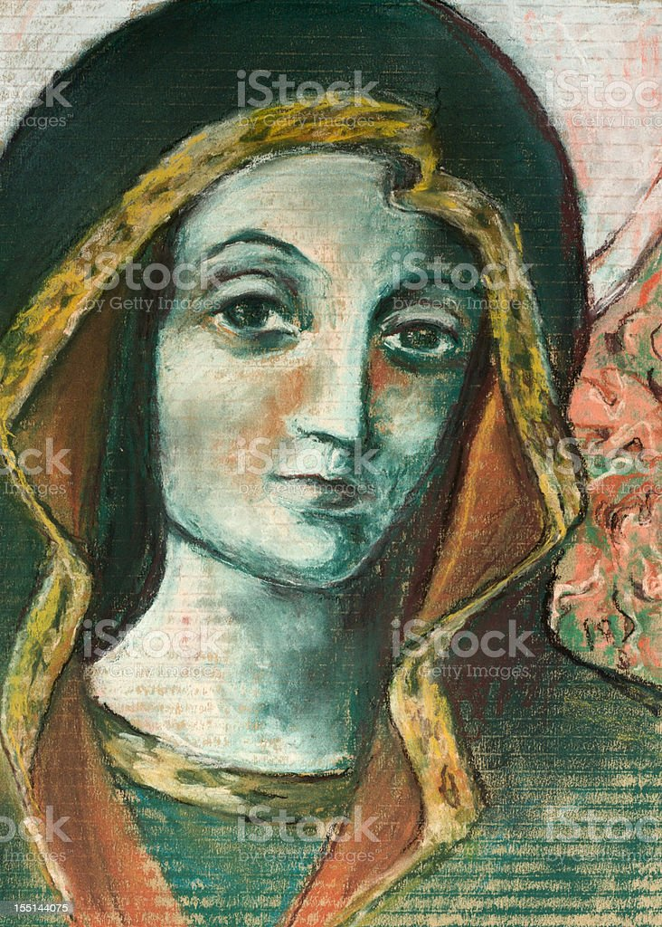 Pastel drawing of Virgin Mary royalty-free stock photo