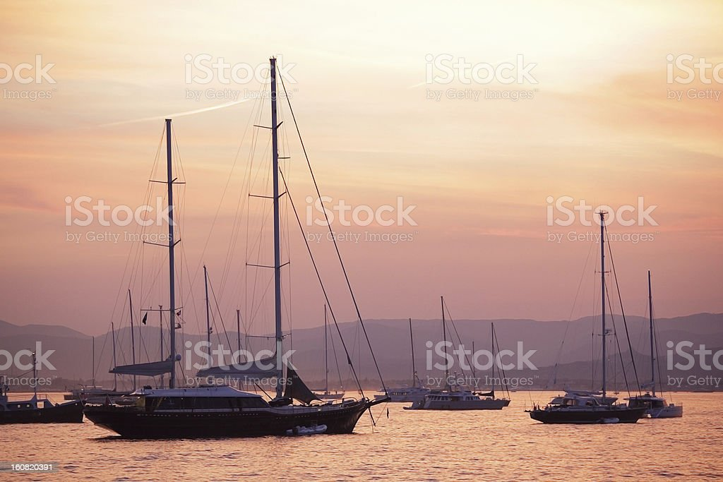 Pastel dusk sky and yachts stock photo