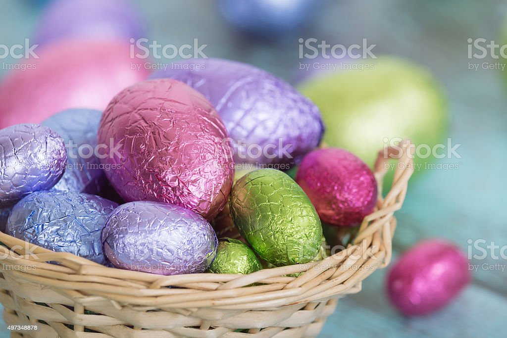 Pastel Easter chocolate eggs in a basket stock photo