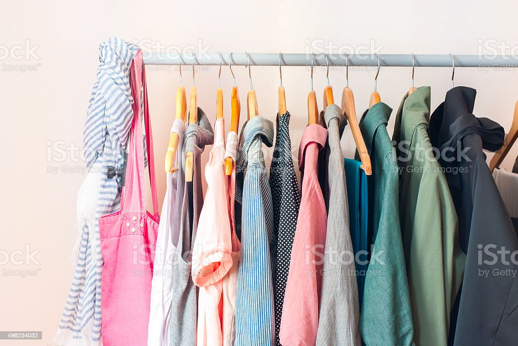 Pastel Female Clothes in a Row stock photo