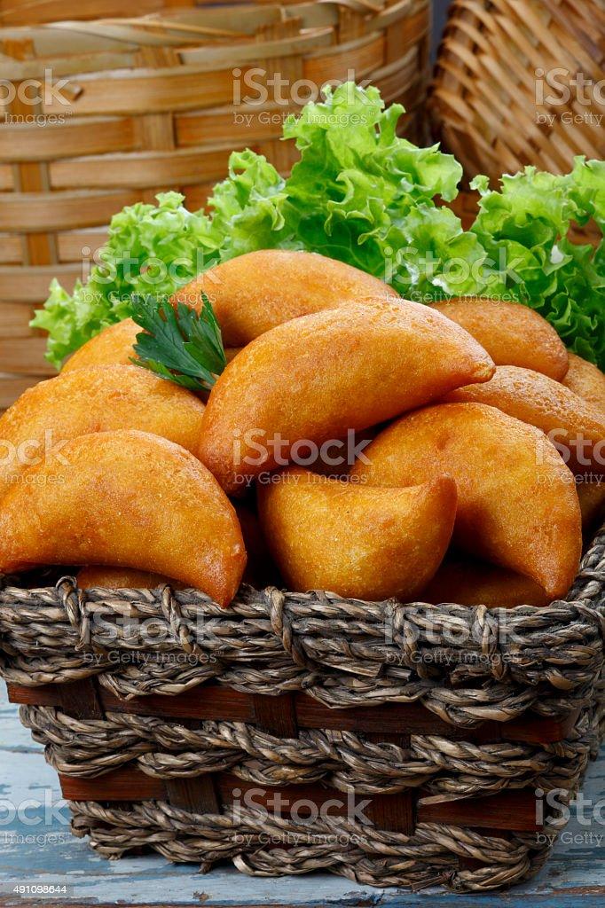 Pastel fried polenta stock photo
