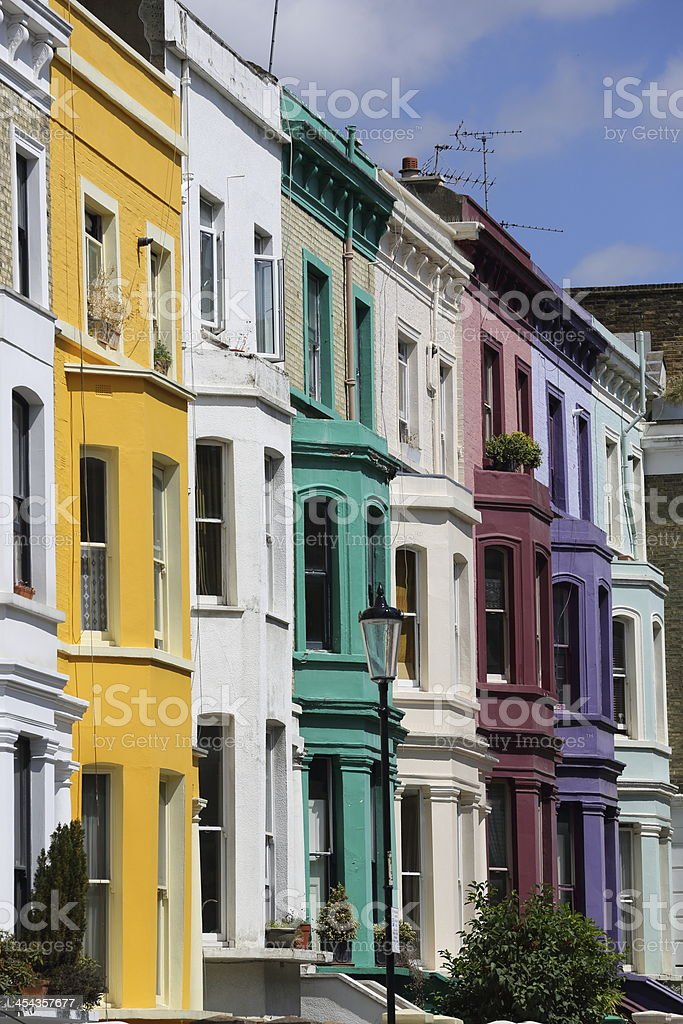 Pastel houses, Notting Hill - London royalty-free stock photo
