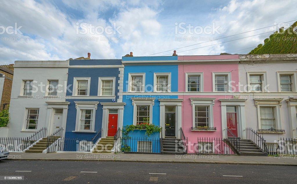 Pastel houses, Notting Hill - London stock photo