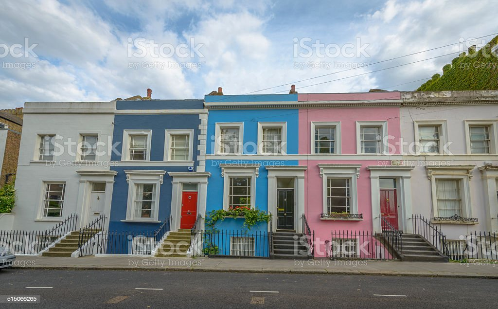 Pastel houses, Notting Hill - London stock photo
