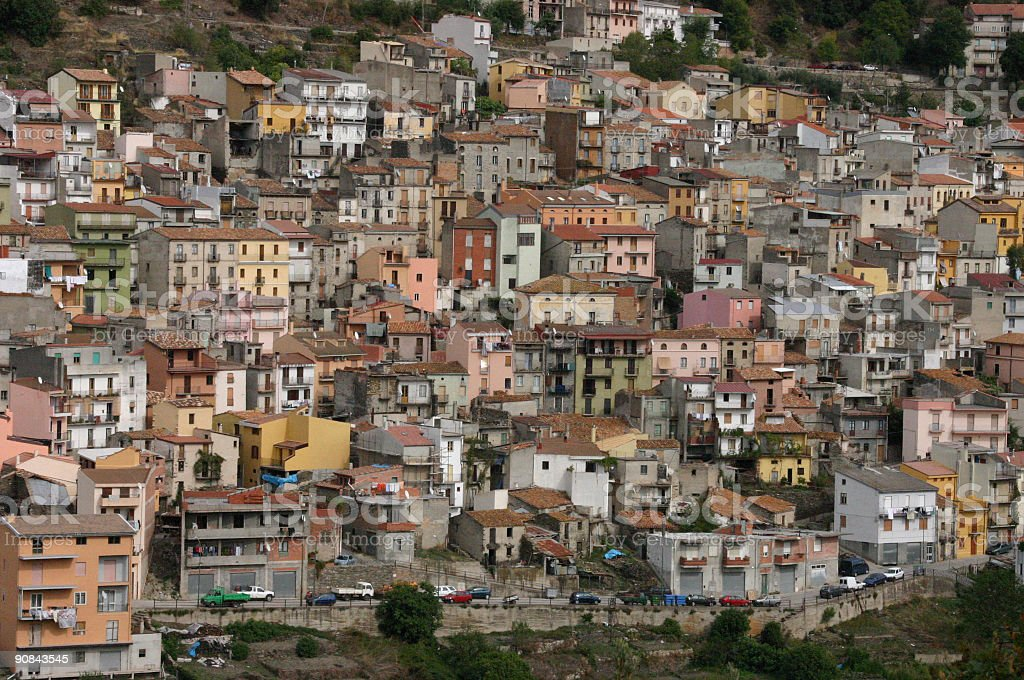 Pastel houses on a hillside stock photo