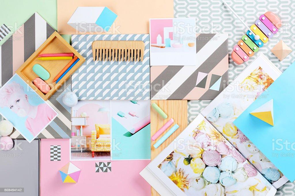 Pastel moodboard stock photo