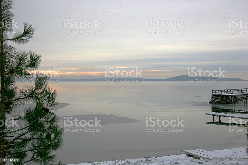 Pastel Morning On Flathead Lake Montana stock photo