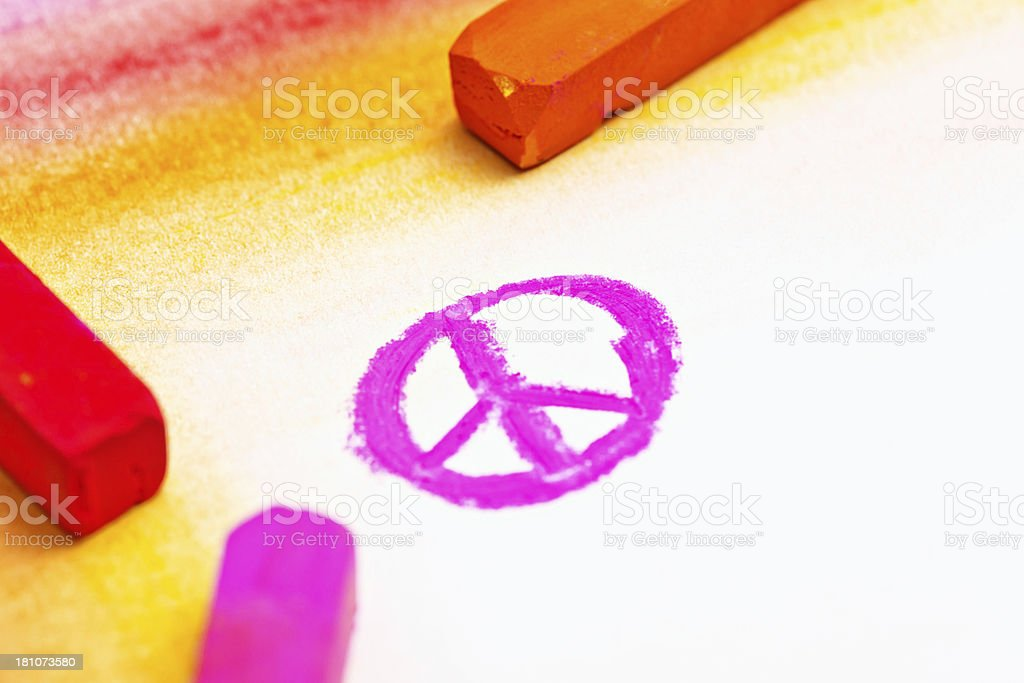 Pastel Peace symbol drawn on sketchpad stock photo