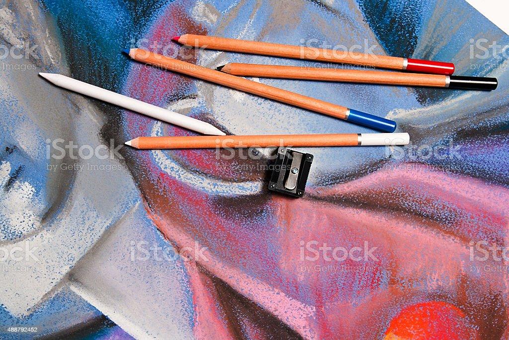 pastel de lápices y originales pastel de vida. foto de stock libre de derechos