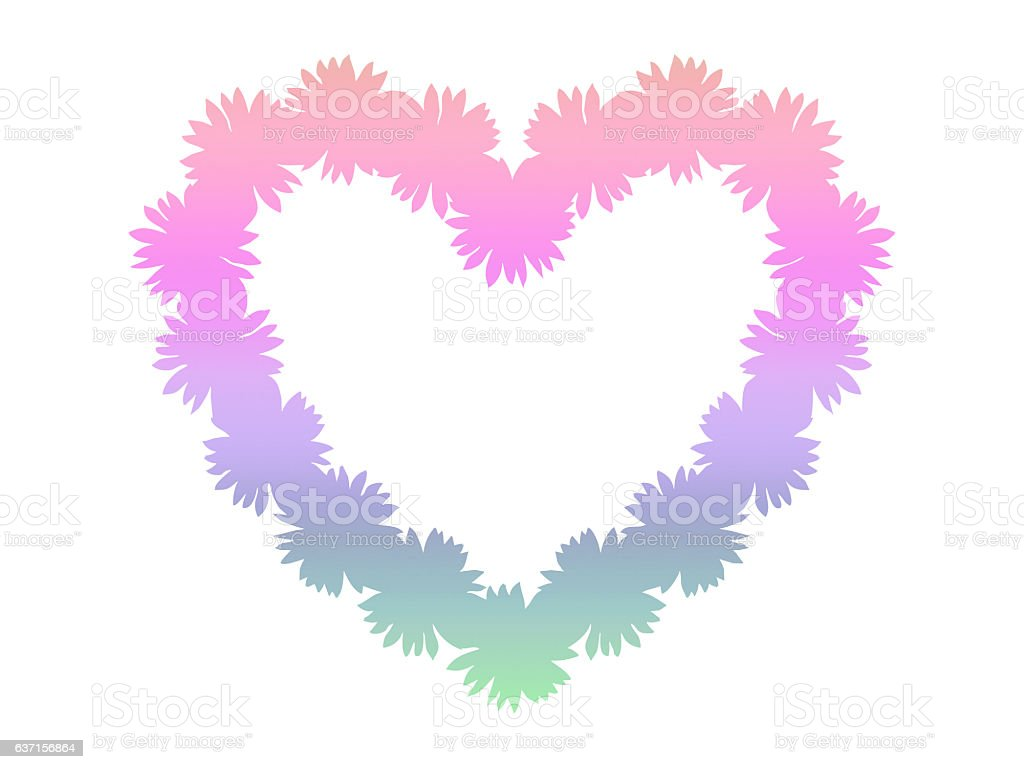 Pastel rainbow heart shaped frame isolated on white background vector art illustration