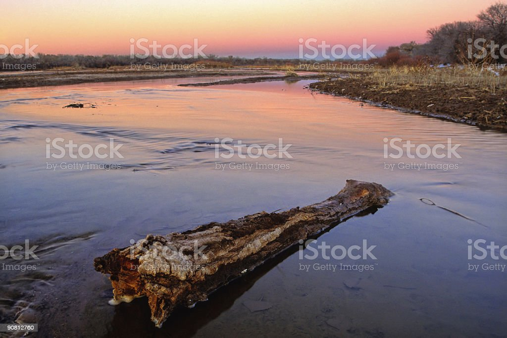 pastel river sunset stock photo