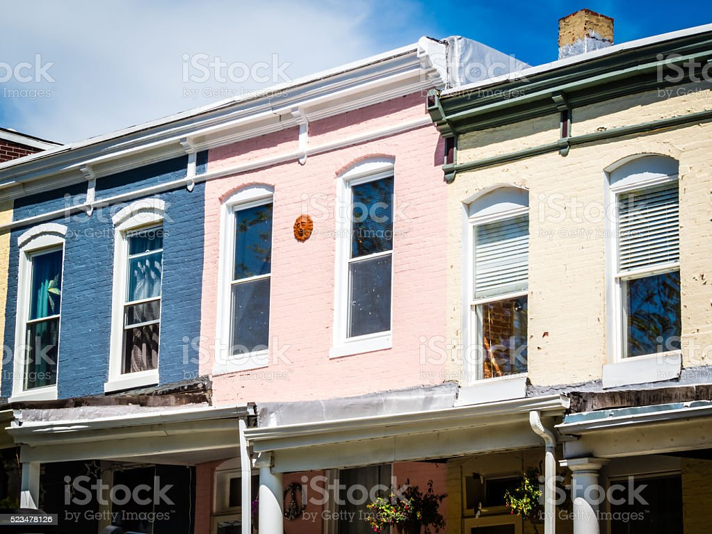 Pastel Row Homes stock photo
